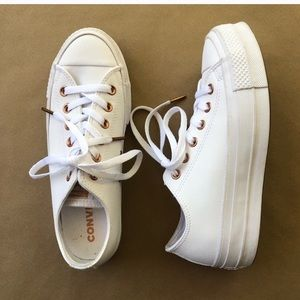 Converse White And Rose Gold Platform